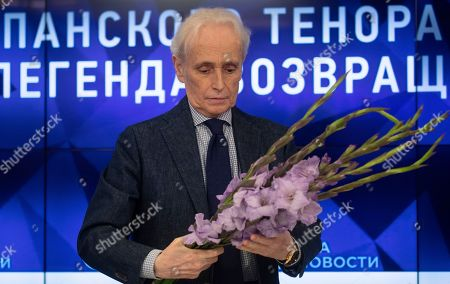 Stock Photo of Spanish tenor Jose Carreras attends a press conference at the Ria Novosty news agency in Moscow, Russia, 30 September 2019. Carreras will perform at the State Kremlin Palace, regarded the main stage of the country, accompanied by the Moscow City Symphony orchestra Russian Philharmonic on 01 October 2019.