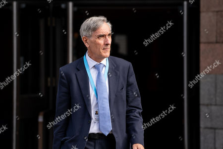 Sir John Redwood MP, leaves the Midland Hotel at Conservative Party Conference