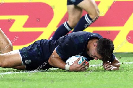 Stock Image of Sean Maitland of Scotland scores a try during the Rugby World Cup match between Scotland and Samoa at Kobe Misaki Stadium in Kobe, Japan, 30 September 2019.