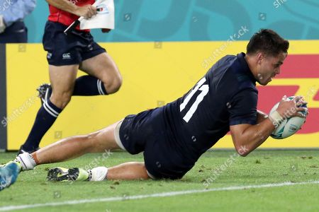 Sean Maitland of Scotland scores a try during the Rugby World Cup match between Scotland and Samoa at Kobe Misaki Stadium in Kobe, Japan, 30 September 2019.