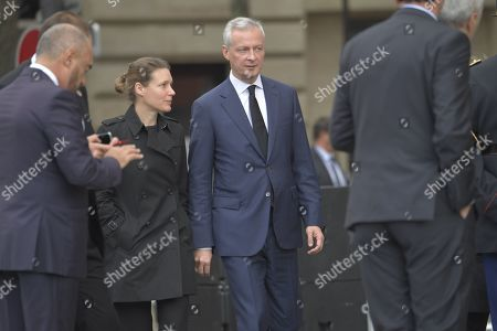 French Economy and Finance Minister Bruno Le Maire and his wife Pauline Doussau de Bazignan