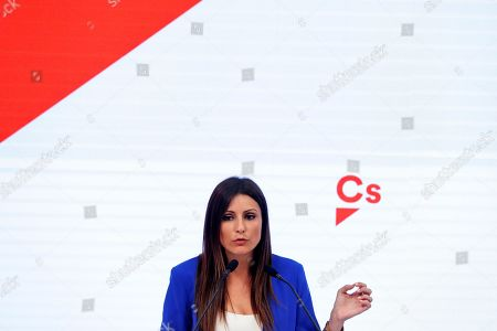 Lorena Roldan, Spanish Ciudadanos (Citizens) party's national spokeswoman, addresses a press conference after the party's executive committee meeting in Madrid, Spain, 30 September 2019. Roldan informed that her party unanimously decided to file a motion of non confidence against Catalan regional President, Joaquim Torra, at Catalan Parliament.