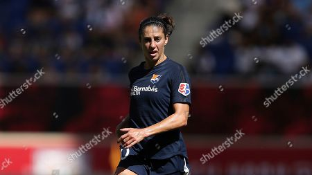 Sky Blue FC midfielder Carli Lloyd (10) moves the ball up the pitch during the second half of an NWSL soccer match against against the Orlando Pride, in Harrison, N.J. The match ended in a 1-1 draw