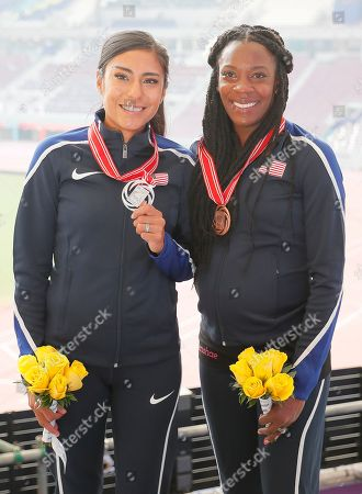 Brenda Martinez (L) of the USA poses with her silver medal which she received during the IAAF World Athletics Championships 2019 at the Khalifa Stadium in Doha, Qatar, 30 September 2019, after being promoted to 2nd place for her performance in the women's 800m final at the IAAF World Championships 2013. At right Alysia Montano of the USA, who received the bronze medal for the same competition. The IAAF World Championships in Doha see the reallocation of a number of world championship medals. These upgrades follow the disqualification of the results of the original medalists after their sanction for anti-doping rule violations.