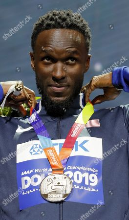 Silver medalist Will Claye of USA during the medal ceremony for the Men's Triple Jump at the IAAF World Athletics Championships 2019 at the Khalifa Stadium in Doha, Qatar, 30 September 2019.
