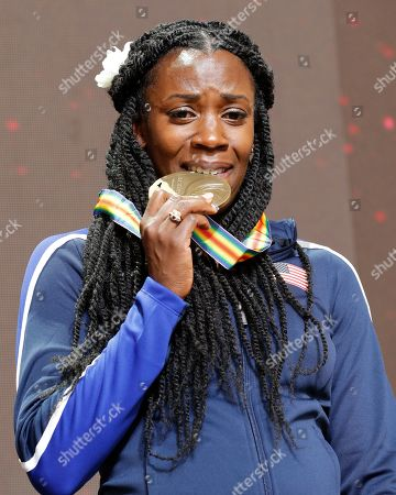 Stock Image of Alysia Montano of the USA poses with her bronze medal during the IAAF World Athletics Championships 2019 at the Khalifa Stadium in Doha, Qatar, 30 September 2019, after being promoted to 3rd place for her performance in the women's 800m final at the IAAF World Championships 2011. The IAAF World Championships in Doha see the reallocation of a number of world championship medals. These upgrades follow the disqualification of the results of the original medalists after their sanction for anti-doping rule violations.