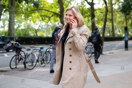Stock Image of MP for Putney Justine Greening departs Four Millbank after appearing on The Today Programme.