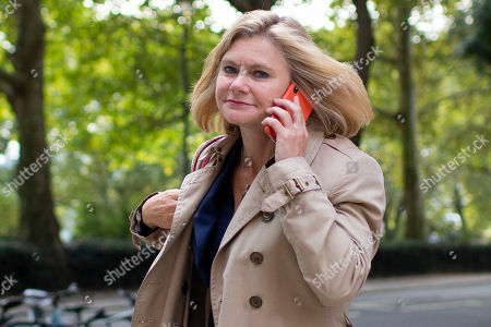MP for Putney Justine Greening departs Four Millbank after appearing on The Today Programme.