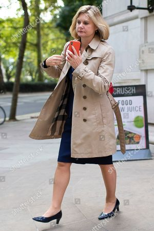 Stock Picture of MP for Putney Justine Greening departs Four Millbank after appearing on The Today Programme.