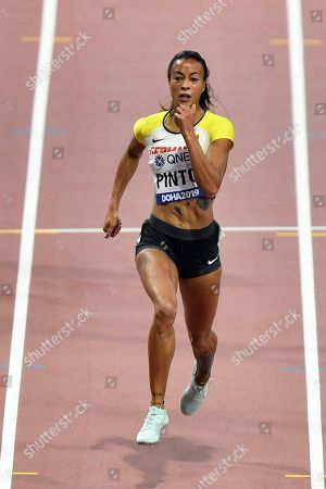 Tatjana Pinto, of Germany, competes in the women's 200 meter heats during the World Athletics Championships in Doha, Qatar