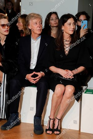 Nancy Shevell and Sir Paul McCartney in the front row