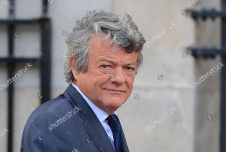 Former French Environment minister Jean-Louis Borloo arrives at Saint Sulpice church in Paris, . Past and current heads of states are gathering in Paris to pay tribute to former French president Jacques Chirac. A private family church service for Chirac, who died last week at the age of 86, is taking place Monday