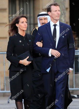 Denmark's Princess Marie and Prince Joachim arrive at Saint Sulpice church in Paris, . Past and current heads of states are gathering in Paris to pay tribute to former French president Jacques Chirac. A private family church service for Chirac, who died last week at the age of 86, is taking place Monday