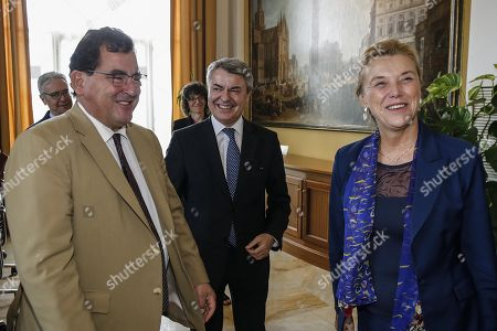 Italy's Secretary General of Ministry for Foreign Affairs, Elisabetta Belloni (R) and Spanish Undersecretary for European Affairs Luis Marco Aguiriano (L) during a bilateral meeting at Farnesina Palace in Rome, 30 September 2019.