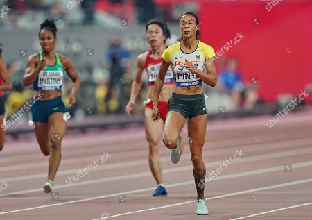 Tatjana Pinto of Germany competing in the 200 meter for women during the 17th IAAF World Athletics Championships at the Khalifa Stadium in Doha, Qatar
