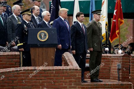 Donald Trump Mark Milley. President Donald Trump participates in an Armed Forces welcome ceremony for the new chairman of the Joint Chiefs of Staff, Gen. Mark Milley, left, at Joint Base Myer-Henderson Hall, Va. From left are Chairman of the Joint Chiefs of Staff, Gen. Mark Milley, Vice President Mike Pence, Trump, Secretary of Defense Mark Esper and Gen. Joseph Dunford, former chairman