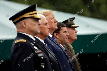 Donald Trump, Mark Milley, Mark Esper, Joseph Dunford. President Donald Trump participates in an Armed Forces welcome ceremony for the new chairman of the Joint Chiefs of Staff, Gen. Mark Milley, left, at Joint Base Myer-Henderson Hall, Va. From left are Chairman of the Joint Chiefs of Staff, Gen. Mark Milley, Vice President Mike Pence, Trump, Secretary of Defense Mark Esper and Gen. Joseph Dunford, former chairman