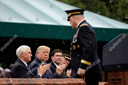 Donald Trump, Mark Esper, Mike Pence, Joseph Dunford, Mark Milley. President Donald Trump participates in an Armed Forces welcome ceremony for the new chairman of the Joint Chiefs of Staff, Gen. Mark Milley, standing, at Joint Base Myer-Henderson Hall, Va. Seated from left are Vice President Mike Pence, Trump, Secretary of Defense Mark Esper and Gen. Joseph Dunford, former chairman