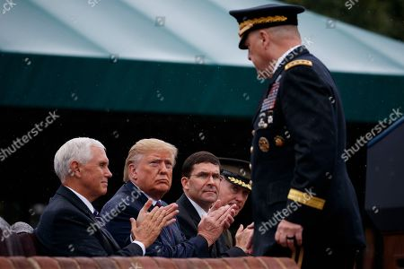 Donald Trump, Mark Milley, Mike Pence, Mark Esper, Joseph Dunford. President Donald Trump participates in an Armed Forces welcome ceremony for the new chairman of the Joint Chiefs of Staff, Gen. Mark Milley, at Joint Base Myer-Henderson Hall, Va. From left, Vice President Mike Pence, Trump, Defense Secretary Mark Esper, outgoing chairman of the Joint Chiefs of Staff Gen. Joseph Dunford, and Milley
