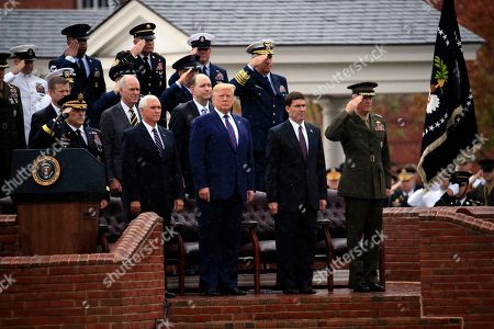 Donald Trump, Mark Milley, Mark Esper, Joseph Dunford, Mike Pence. President Donald Trump participates in an Armed Forces welcome ceremony for the new chairman of the Joint Chiefs of Staff, Gen. Mark Milley, left, at Joint Base Myer-Henderson Hall, Va. From left are Chairman of the Joint Chiefs of Staff, Gen. Mark Milley, Vice President Mike Pence, Trump, Secretary of Defense Mark Esper and Gen. Joseph Dunford, former chairman
