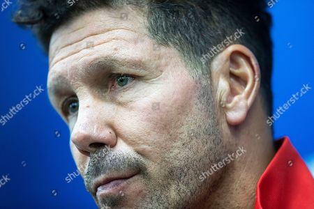 Atletico Madrid head coach Diego Simeone attends a press conference before a training session at the Lokomotiv Stadium in Moscow, Russia, . Lokomotiv Moscow will face Atletico Madrid at the Group D Champions League soccer match on Thursday, Oct. 1