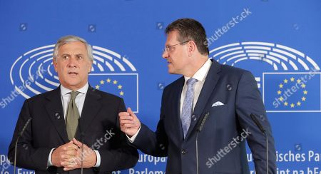 Maros Sefcovic (R), European Commissioner-designate for Interinstitutional Relations and Foresight, and MEP Antonio Tajani (L) attend Sefcovic's hearing before the European Parliament in Brussels, Belgium, 30 September 2019. MEPs from various committees are hearing the proposed members of Commission President-elect von der Leyen's. Commissioners have to be approved by the parliament following parliamentary vetting process