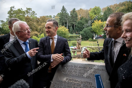 German Foreign Minister Heiko Maas (3-L), former German Chancellery Minister Rudolf Seiters (2-L) and former refugees talk on balcony at German embassy during ceremony marking the 30th anniversary of East Germans' exodus into West German embassy in Prague, Czech Republic, 30 September 2019. In September 1989, over 4,000 GDR citizens, many of them arrived in their Trabant-brand cars, climbed over the fence into the gardens of the West German Embassy in Prague where on 30 September 1989 West German Foreign Minister Hans-Dietrich Genscher addressed them his legendary speech from the embassy's balcony in which he informed them their departure to West Germany was granted.