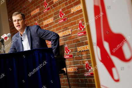 Boston Red Sox President & CEO Sam Kennedy speaks during a news conference at Fenway Park in Boston