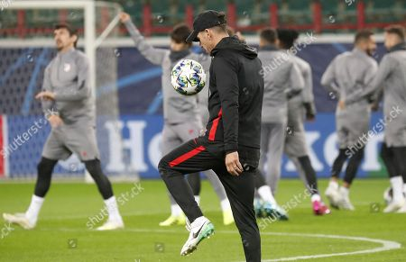 Atletico Madrid's head coach Diego Simeone takes part in a training session in Moscow, Russia 30 September 2019. Atletico Madrid will face Lokomotiv Moscow in a UEFA Champions League group stage match on 01 October.