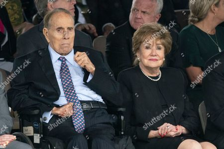 Former Senators Bob Dole and Elizabeth Dole attend the Armed Forces Welcome Ceremony in honor of the Twentieth Chairman of the Joint Chiefs of Staff Mark Milley at Joint Base Myer in Virginia, USA, 30 September 2019.