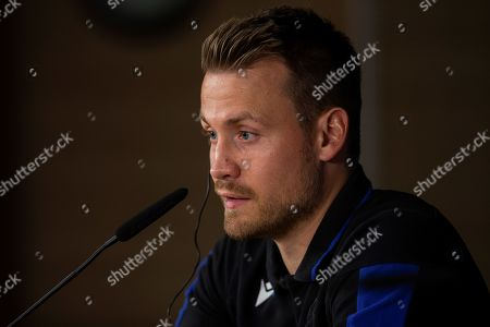 Club Brugge's goalkeeper Simon Mignolet attends a press conference in Madrid, Spain, 30 September 2019. Club Brugge will face Real Madrid in a UEFA Champions League group stage soccer match on 01 October.