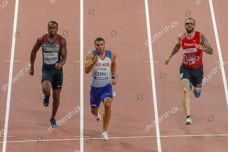 Adam Gemili (Great Britain), Aaron Brown (Canada), Ramil Guliyev (Turkey), 200 Metres Men, Semi-Final - Heat 1, during the 2019 IAAF World Athletics Championships at Khalifa International Stadium, Doha