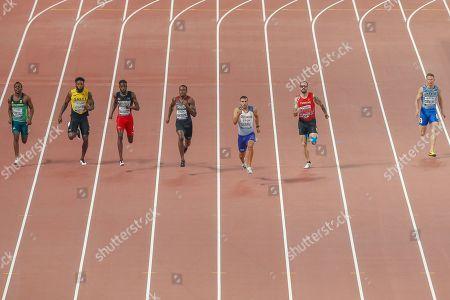 Clarence Munyai (South Africa), Rasheed Dwyer (Jamaica), Jereem Richards (Trinidad and Tobago), Adam Gemili (Great Britain), Aaron Brown (Canada), Ramil Guliyev (Turkey), Serhiy Smelk (Ukraine), 200 Metres Men, Semi-Final - Heat 1, during the 2019 IAAF World Athletics Championships at Khalifa International Stadium, Doha