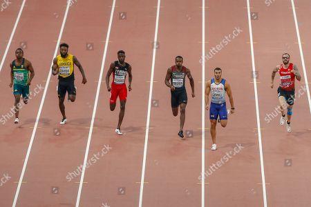 Clarence Munyai (South Africa), Rasheed Dwyer (Jamaica), Jereem Richards (Trinidad and Tobago), Adam Gemili (Great Britain), Aaron Brown (Canada), Ramil Guliyev (Turkey), 200 Metres Men, Semi-Final - Heat 1, during the 2019 IAAF World Athletics Championships at Khalifa International Stadium, Doha