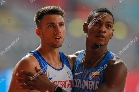 Andrew Pozzi (Great Britain), Yohan Chaverra (Colombia) after the 110 Metres Hurdles Round 1, Heat 3, during the 2019 IAAF World Athletics Championships at Khalifa International Stadium, Doha