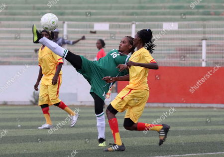 Stock Image of Sudanese female soccer players of Tahadi (L) and Difaain (R) fight for the ball during the first ever Sudanese women?s club football league soccer match, in Khartoum, Sudan, 30 September 2019. The competition will see 21 teams competing. Only months after the ousting of president Omar Hassan al-Bashir, and the formation of joint military civilian council, the championship is seen as a sign of opening and change in Sudan.