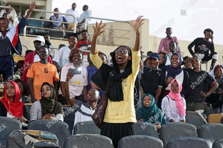 Sudanese cheer they watch the first ever Sudanese women?s club football league soccer match, in Khartoum, Sudan, 30 September 2019. The competition will see 21 teams competing. Only months after the ousting of president Omar Hassan al-Bashir, and the formation of joint military civilian council, the championship is seen as a sign of opening and change in Sudan.