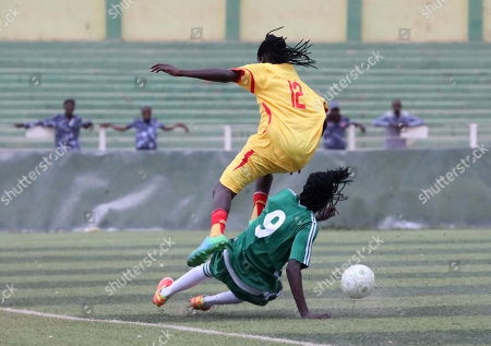 Stock Picture of Sudanese female soccer players of Tahadi (R in green) and Difaain fight for the ball during the first ever Sudanese women?s club football league soccer match, in Khartoum, Sudan, 30 September 2019. The competition will see 21 teams competing. Only months after the ousting of president Omar Hassan al-Bashir, and the formation of joint military civilian council, the championship is seen as a sign of opening and change in Sudan.