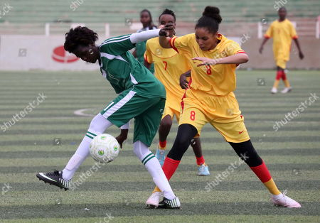 Sudanese female soccer players of Tahadi (L) and Difaain (R) fight for the ball during the first ever Sudanese women?s club football league soccer match, in Khartoum, Sudan, 30 September 2019. The competition will see 21 teams competing. Only months after the ousting of president Omar Hassan al-Bashir, and the formation of joint military civilian council, the championship is seen as a sign of opening and change in Sudan.