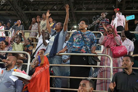 Sudanese react as they watch the first ever Sudanese women?s club football league soccer match, in Khartoum, Sudan, 30 September 2019. The competition will see 21 teams competing. Only months after the ousting of president Omar Hassan al-Bashir, and the formation of joint military civilian council, the championship is seen as a sign of opening and change in Sudan.
