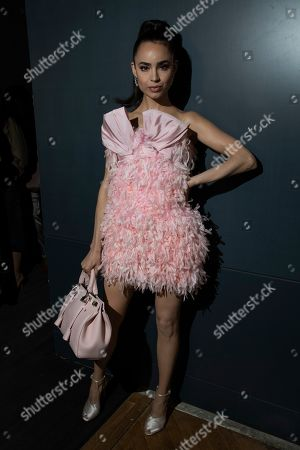 Stock Picture of Sofia Carson attends the Valli Ready To Wear Spring-Summer 2020 collection, unveiled during the fashion week, in Paris