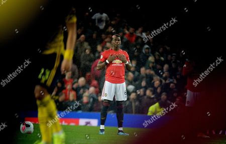 epa07883609 Manchester United's Paul Pogba during the English Premier League soccer match between Manchester United and Arsenal London in Manchester, Britain, 30 September 2019.