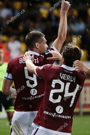 Torino's Andrea Belotti celebrates converting a penalty for the 1-2 lead goal during the Italian Serie A soccer match Parma Calcio vs Torino FC at the Ennio Tardini stadium in Parma, Italy, 30 September 2019.