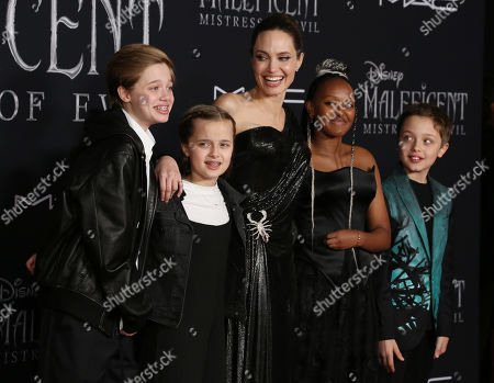 Stock Picture of Shiloh Jolie Pitt, Vivienne Jolie Pitt, Angelina Jolie, Zahara Jolie Pitt and Knox Jolie Pitt