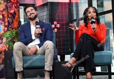 "Rachel Lindsay, Bryan Abasolo. Television personality participates in the BUILD Speaker Series to discuss the television series ""The Bachelorette"" at BUILD Studio, in New York"