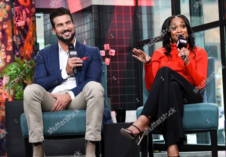 """Bryan Abasolo, Rachel Lindsay. Television personalities Bryan Abasolo, left, and Rachel Lindsay participate in the BUILD Speaker Series to discuss the television series """"The Bachelorette"""" at BUILD Studio, in New York"""