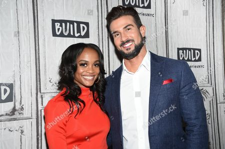"""Rachel Lindsay, Bryan Abasolo. Television personalities Rachel Lindsay, left, and Bryan Abasolo participate in the BUILD Speaker Series to discuss the television series """"The Bachelorette"""" at BUILD Studio, in New York"""