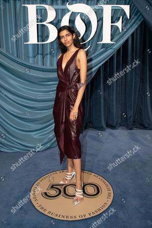 Stock Photo of Indian model Pooja Mor arrives for the Business of Fashion, BoF 500 gala held at the Hotel de Ville in Paris, France, 30 September 2019.