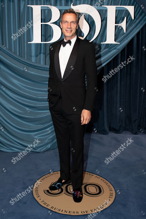 Stock Picture of Stefano Tonchi, W's former editor-in-chief, arrives for the Business of Fashion, BoF 500 gala held at the Hotel de Ville in Paris, France, 30 September 2019.