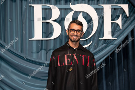 Stock Photo of Italian fashion editor Simone Marchetti arrives for the Business of Fashion, BoF 500 gala held at the Hotel de Ville in Paris, France, 30 September 2019.